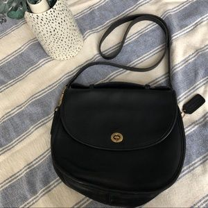 Vntg Coach 'Plaza' Saddle Cross Body Bag Leather